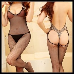 ❤️NEW Sexy Leopard Fishnet Bodystocking Lingerie